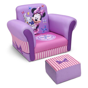 Delta Children Minnie Mouse Upholstered Chair with Ottoman, Right View a1a