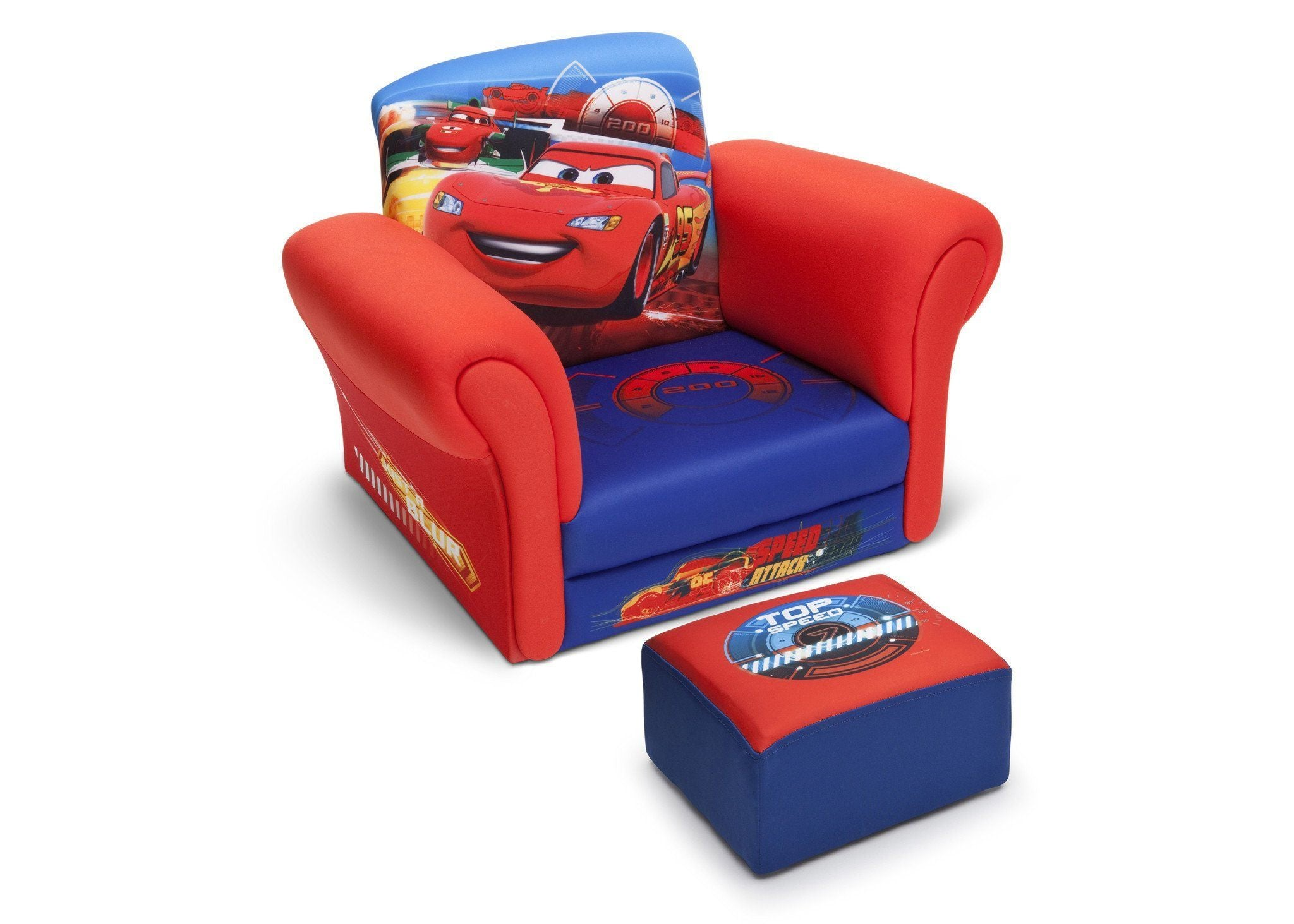 Delta Children Cars Upholstered Chair With Ottoman, Right View A1a ...