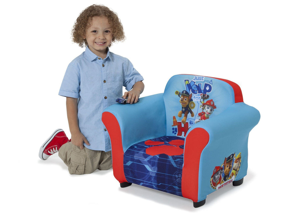 Delta Children PAW Patrol Upholstered Chair, Left View with Model a4a