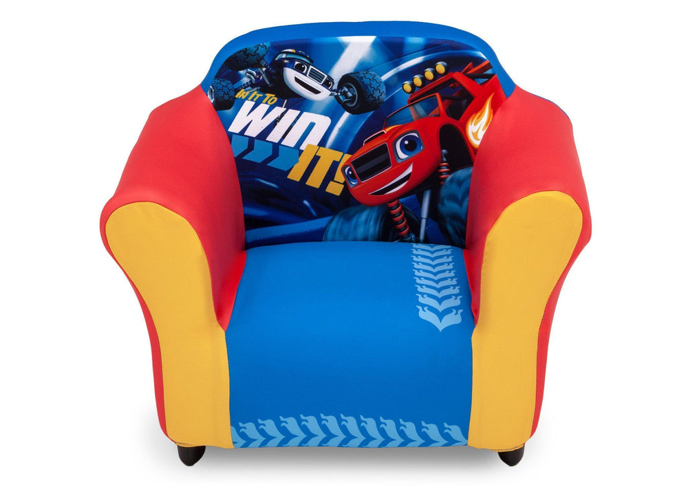 Delta Children Nick Jr. Blaze and the Monster Machines Plastic Frame Upholstered Chair, Front a3a
