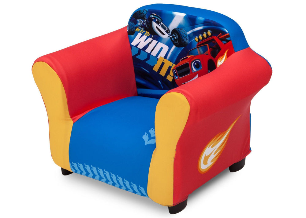 Delta Children Nick Jr. Blaze and the Monster Machines Plastic Frame Upholstered Chair, Left View a2a