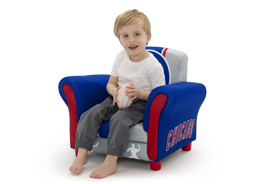 Delta Children Chicago Cubs Upholstered Chair, Left view with Model a4a
