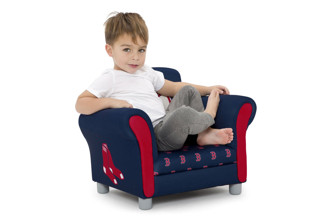 Delta Children Boston Red Sox Upholstered Chair, Right view with Model a4a