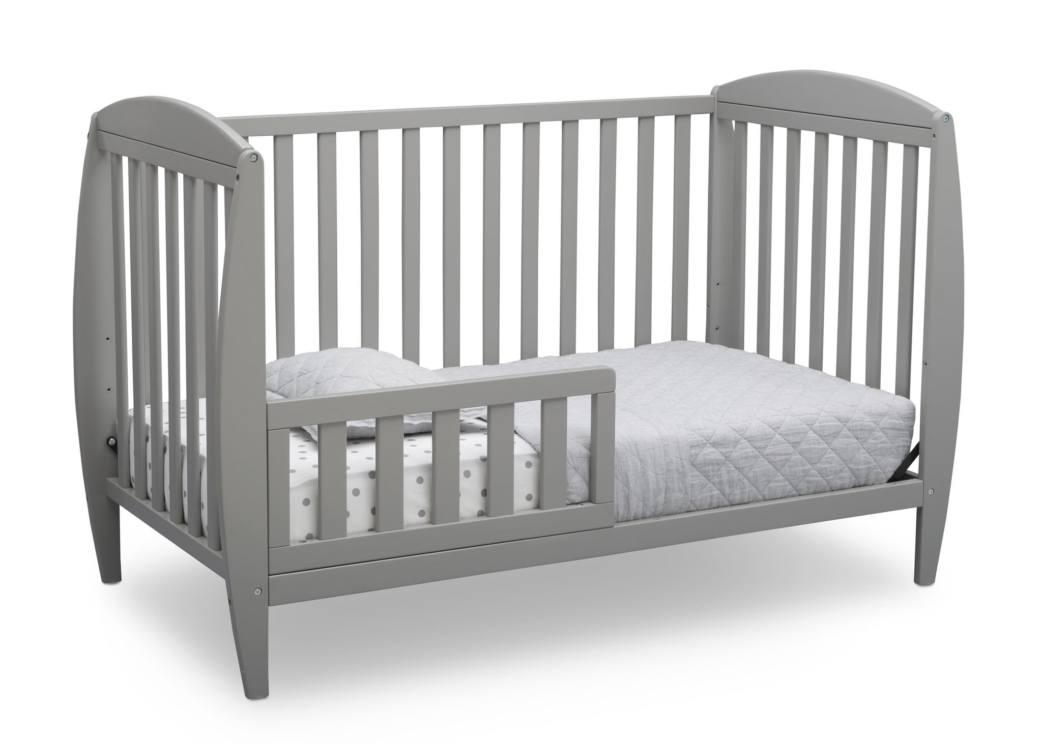 Delta Children Grey (026) Taylor 4-in-1 Convertible Crib (W10040), Silo Toddler Bed, a3a