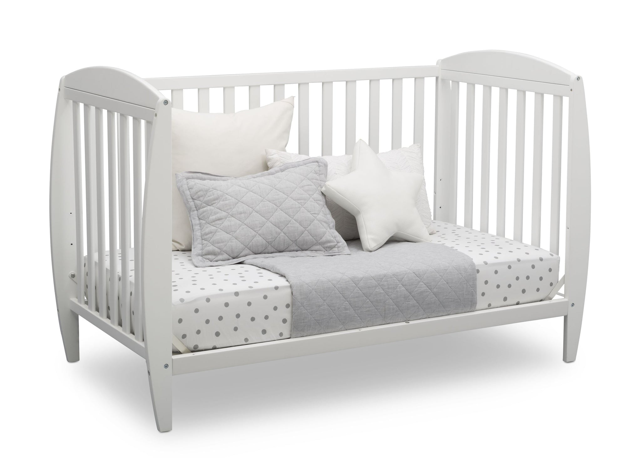 Delta Children Bianca White (130) Taylor 4-in-1 Convertible Crib (W10040), Silo Daybed, b4b