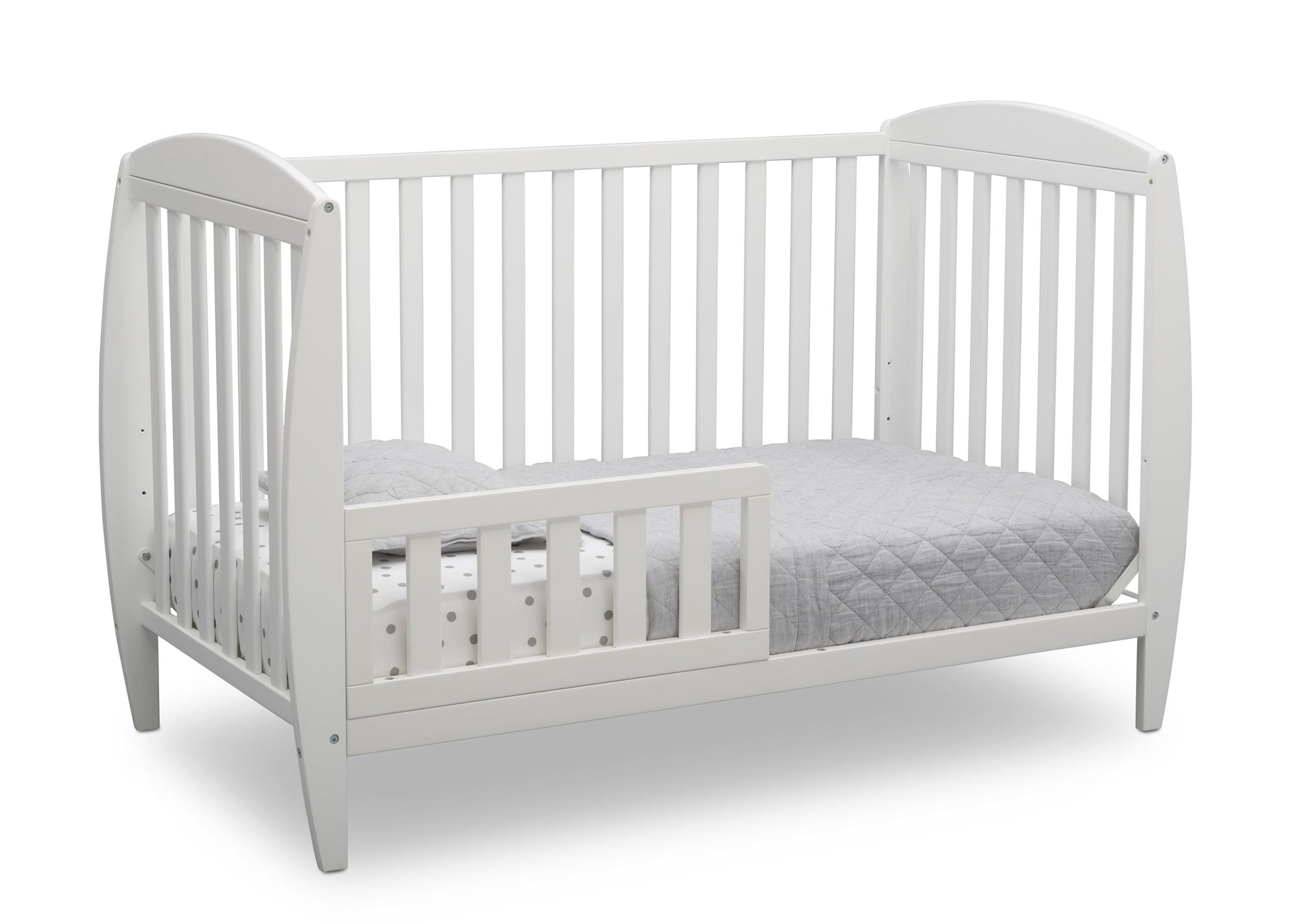 Delta Children Bianca White (130) Taylor 4-in-1 Convertible Crib (W10040), Silo Toddler Bed, b3b