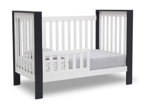 Delta Children Bianca with Midnight (181) Miles 4-in-1 Convertible Crib, Right Toddler Bed Silo View