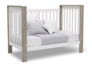 Delta Children Bianca with Textured Limestone (184) Miles 4-in-1 Convertible Crib, Right Day Bed Silo View