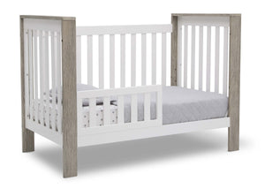 Delta Children Bianca with Textured Limestone (184) Miles 4-in-1 Convertible Crib, Right Toddler Bed Silo View