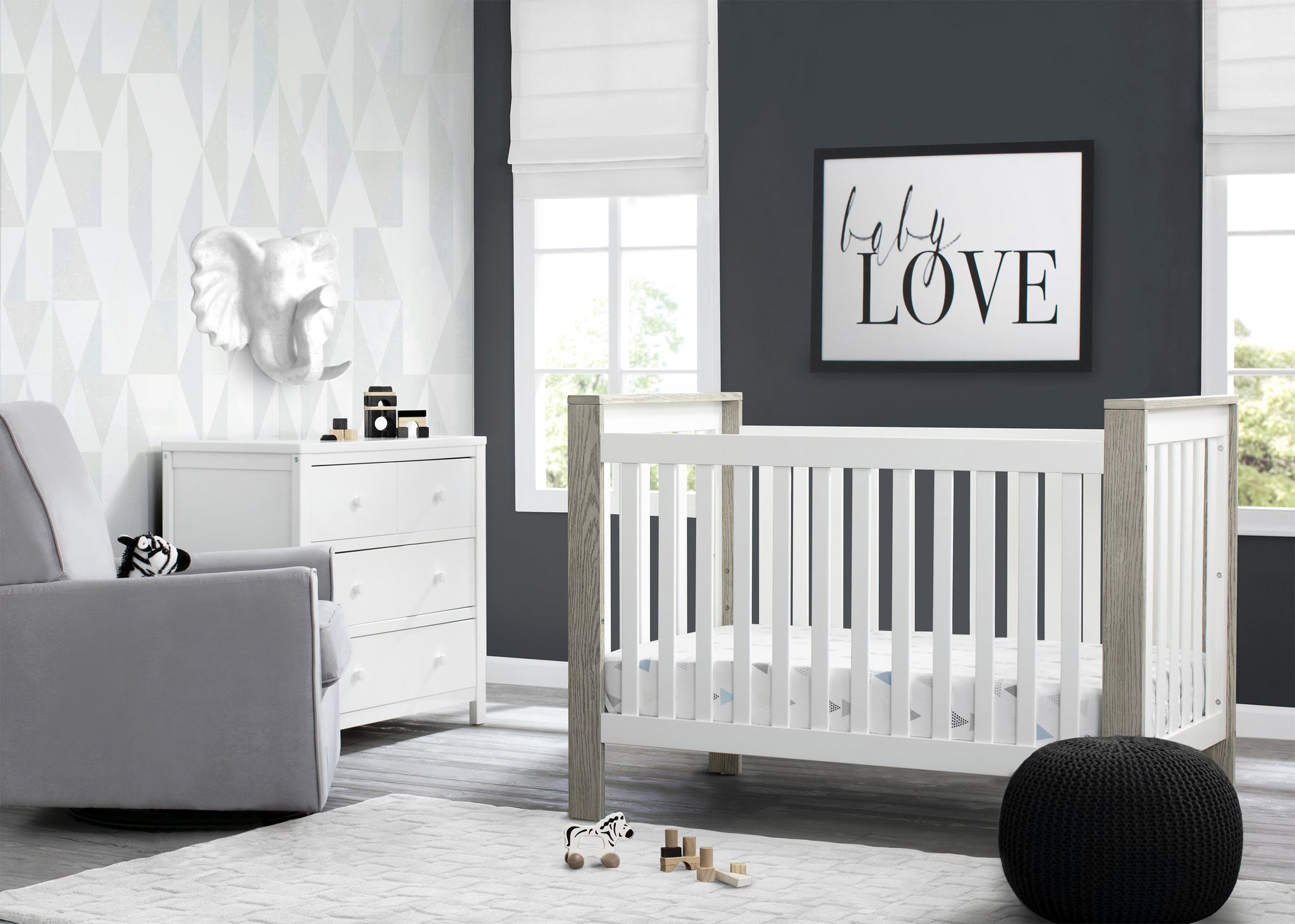 Delta Children Bianca with Textured Limestone (184) Miles 4-in-1 Convertible Crib, Room View