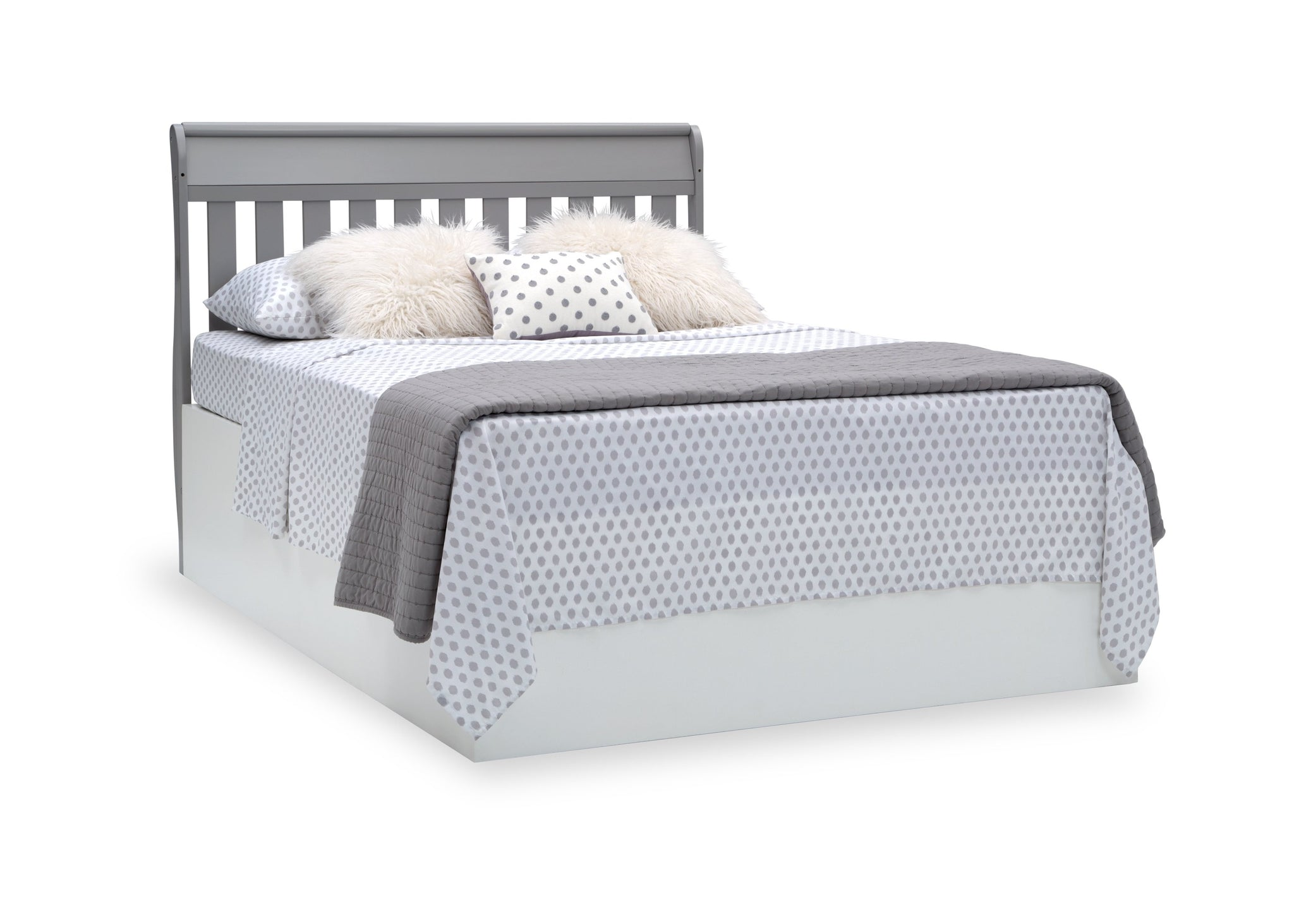 Delta Children Grey (026) Bentley S Series Deluxe 6-in-1 Convertible Crib, Right Full Bed with Headboard Silo View