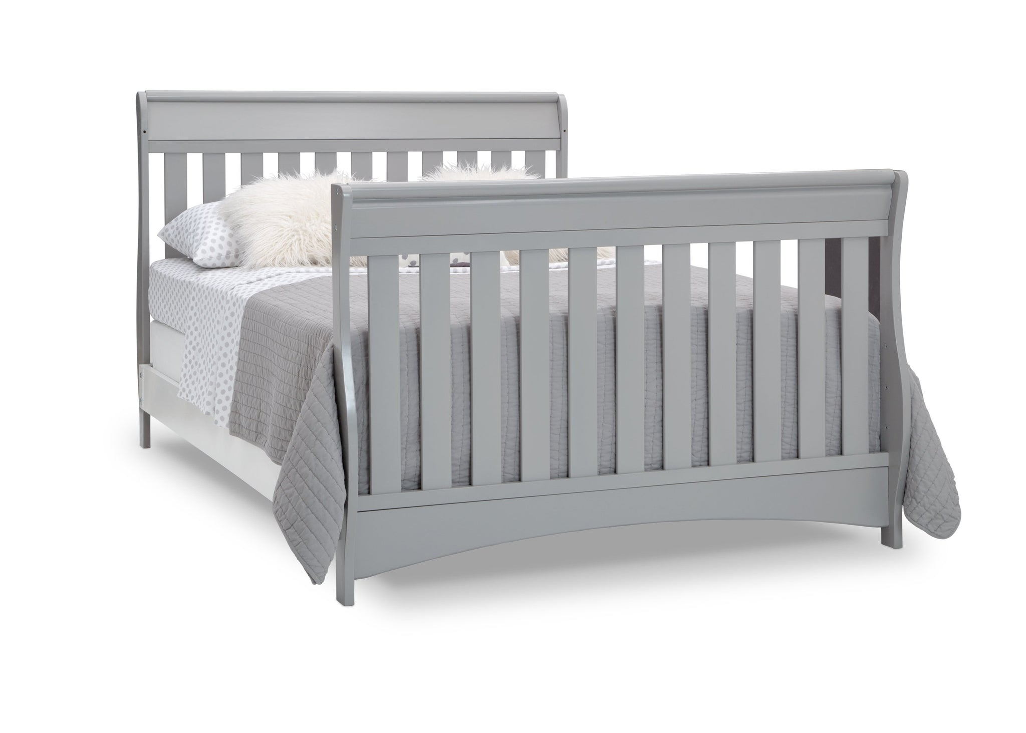 Delta Children Grey (026) Bentley S Series Deluxe 6-in-1 Convertible Crib, Right Full Bed with Headboard and Footboard Silo View