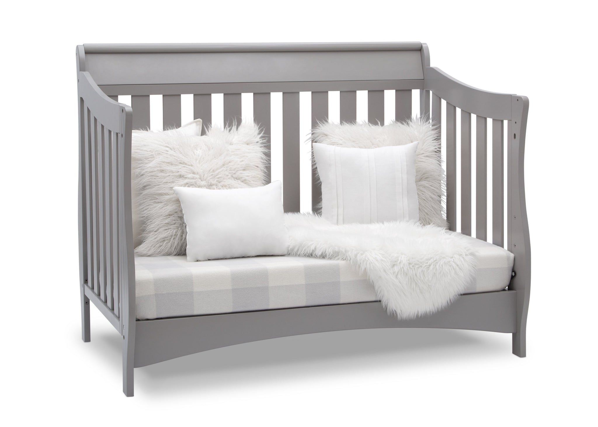 Delta Children Grey (026) Bentley S Series Deluxe 6-in-1 Convertible Crib, Right Sofa Bed Silo View