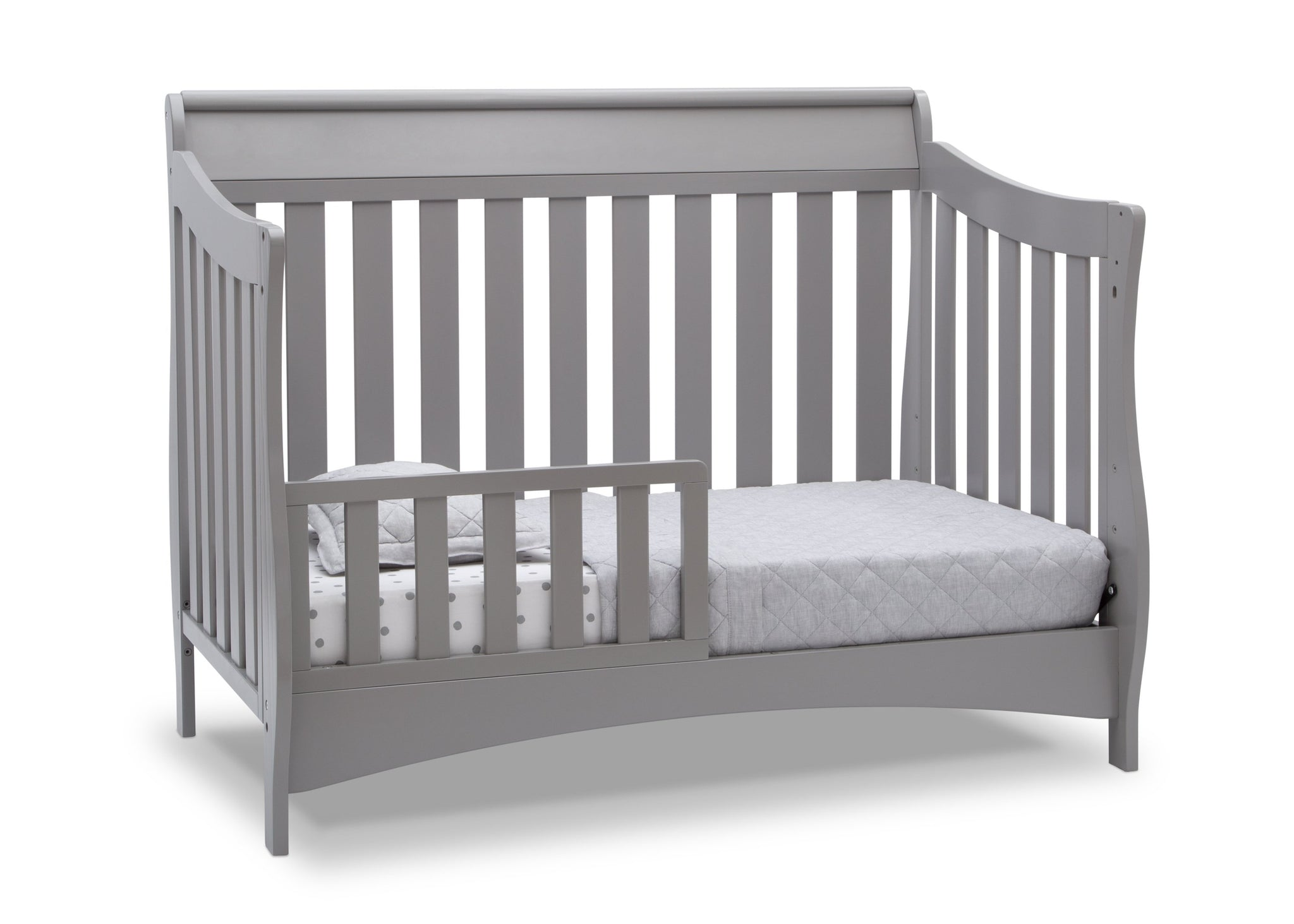 Delta Children Grey (026) Bentley S Series Deluxe 6-in-1 Convertible Crib, Right Toddler Bed Silo View