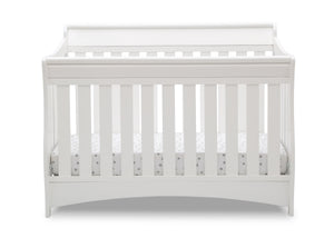 Delta Children Bianca White (130) Bentley S Series Deluxe 6-in-1 Convertible Crib, Front Crib Silo View
