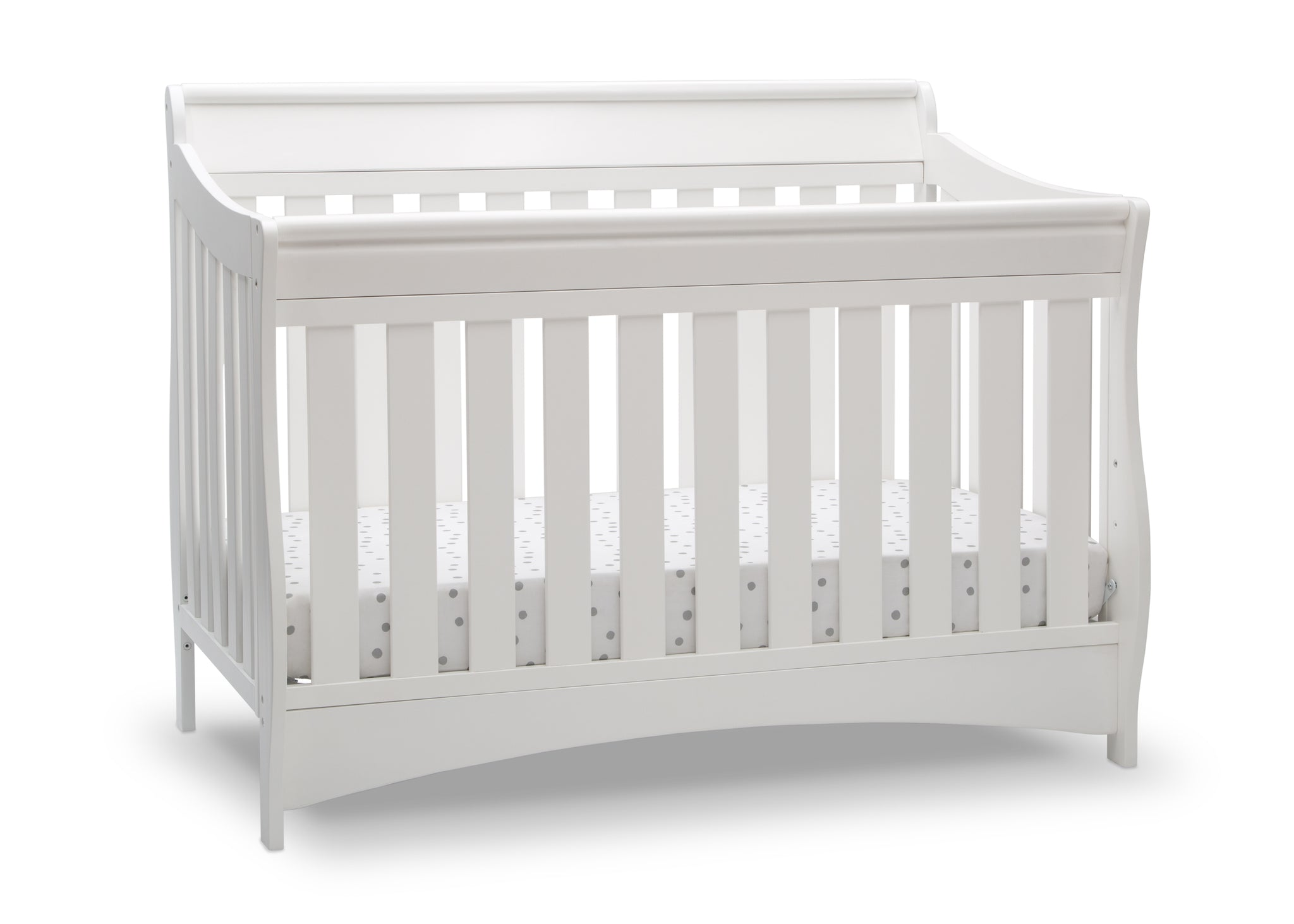 Delta Children Bianca White (130) Bentley S Series Deluxe 6-in-1 Convertible Crib, Right Crib Silo View