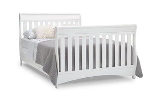 Delta Children Bianca White (130) Bentley S Series Deluxe 6-in-1 Convertible Crib, Right Full Bed with Headboard and Footboard Silo View