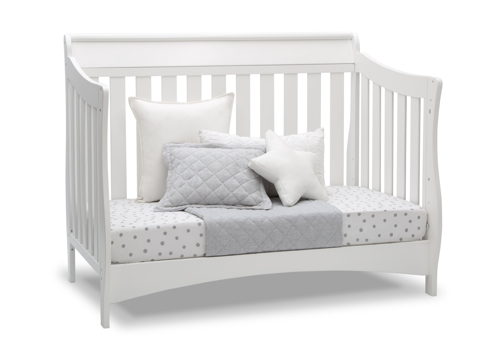 Delta Children Bianca White (130) Bentley S Series Deluxe 6-in-1 Convertible Crib, Right Day Bed Silo View