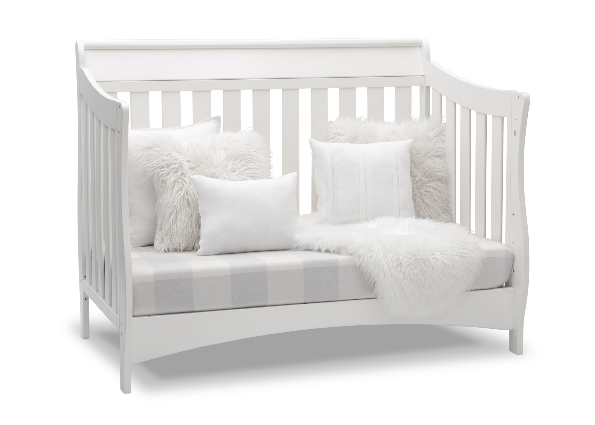 Delta Children Bianca White (130) Bentley S Series Deluxe 6-in-1 Convertible Crib, Right Sofa Bed Silo View