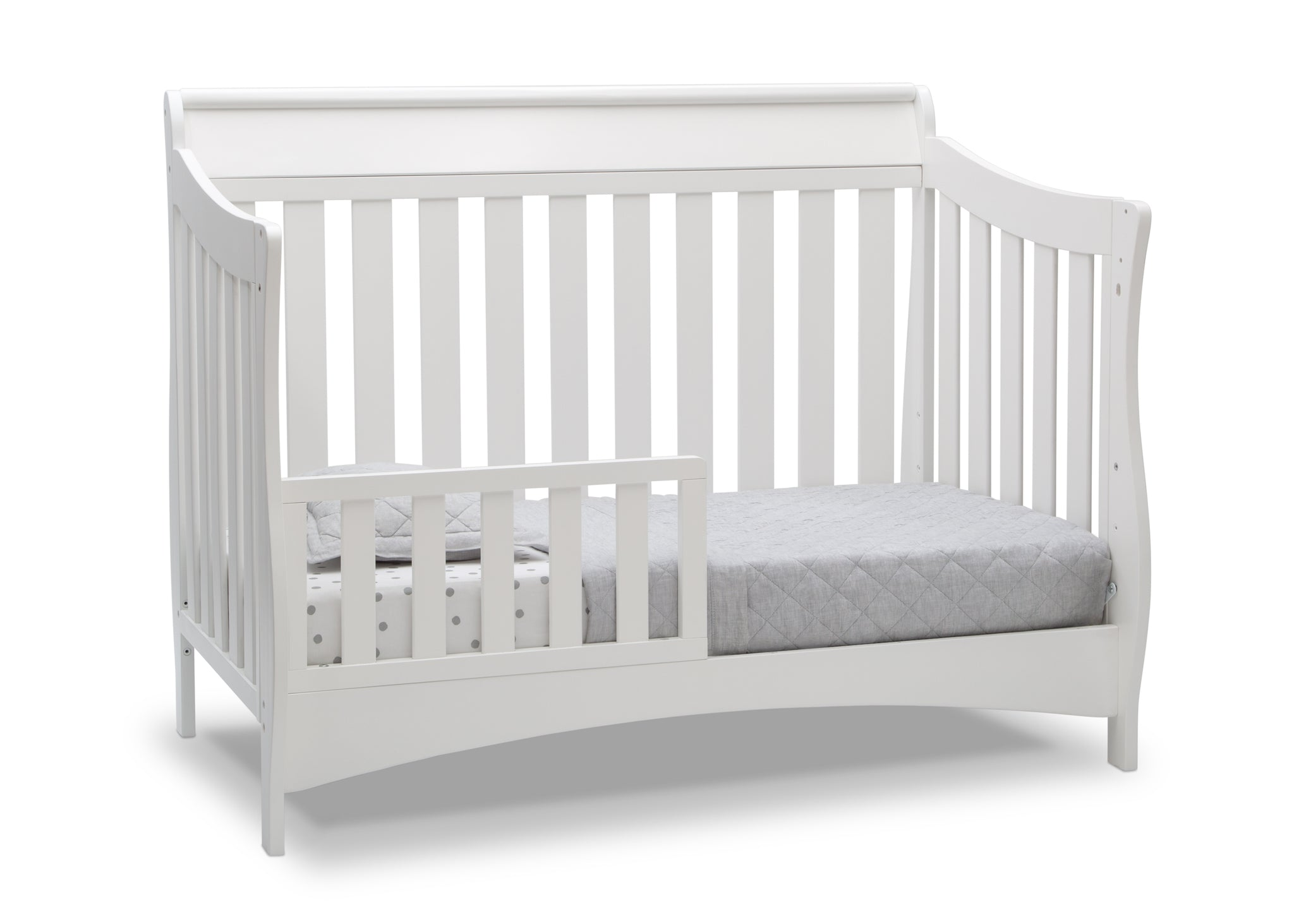 Delta Children Bianca White (130) Bentley S Series Deluxe 6-in-1 Convertible Crib, Right Toddler Bed Silo View