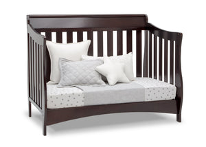 Delta Children Dark Chocolate (207) Bentley S Series Deluxe 6-in-1 Convertible Crib, Right Day Bed Silo View