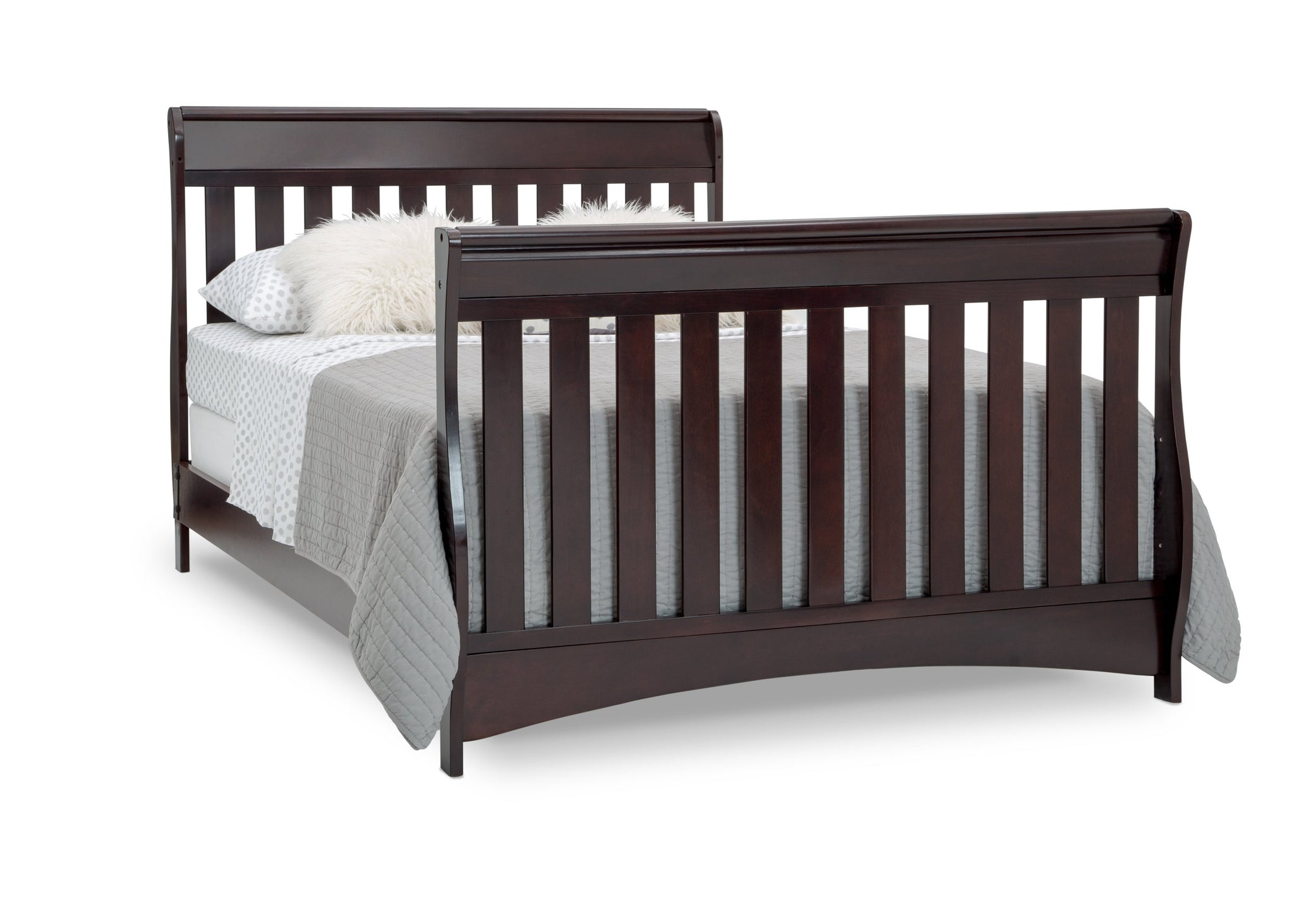 Delta Children Dark Chocolate (207) Bentley S Series Deluxe 6-in-1 Convertible Crib, Right Toddler Bed with Headboard and Footboard Silo View