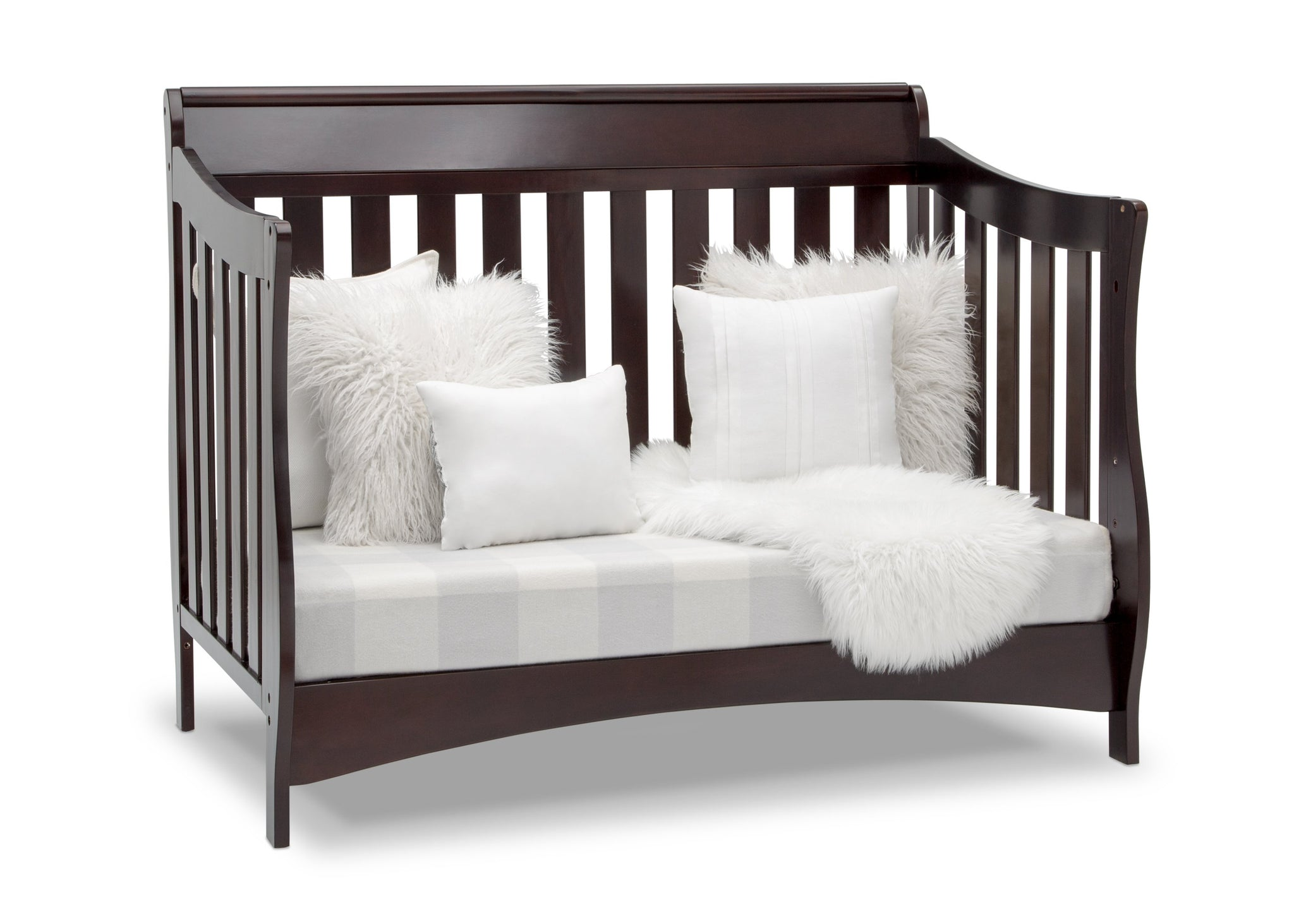 Delta Children Dark Chocolate (207) Bentley S Series Deluxe 6-in-1 Convertible Crib, Right Sofa Silo View