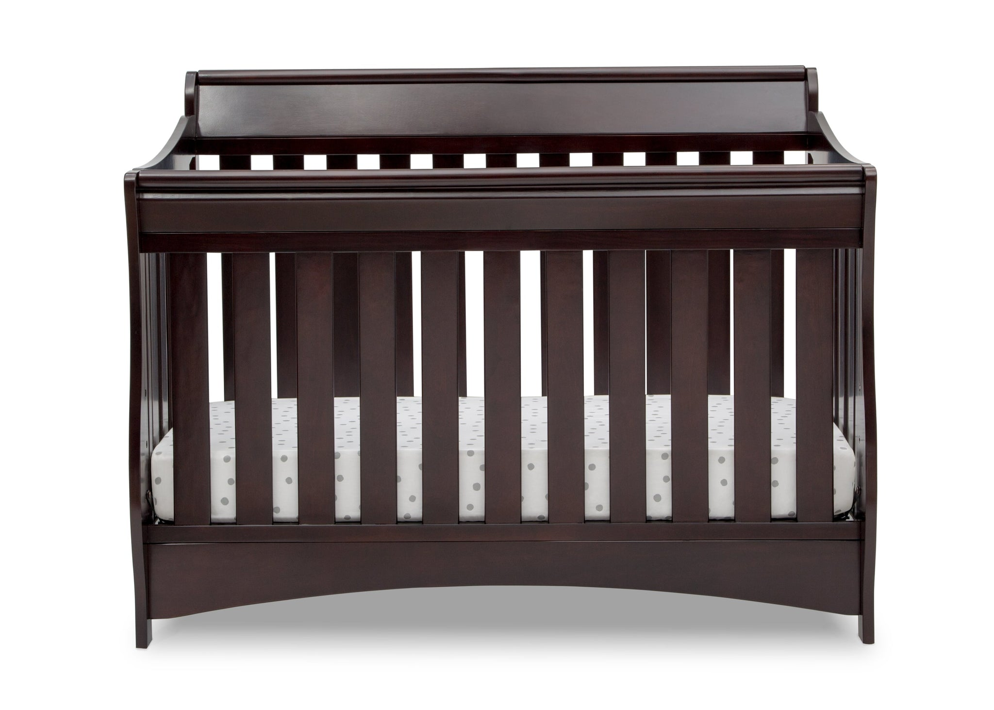 Delta Children Dark Chocolate (207) Bentley S Series Deluxe 6-in-1 Convertible Crib, Front Crib Silo View