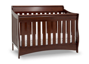 Delta Children Black Cherry Espresso (607) Bentley S Series Deluxe 6-in-1 Convertible Crib, Right Crib Silo View