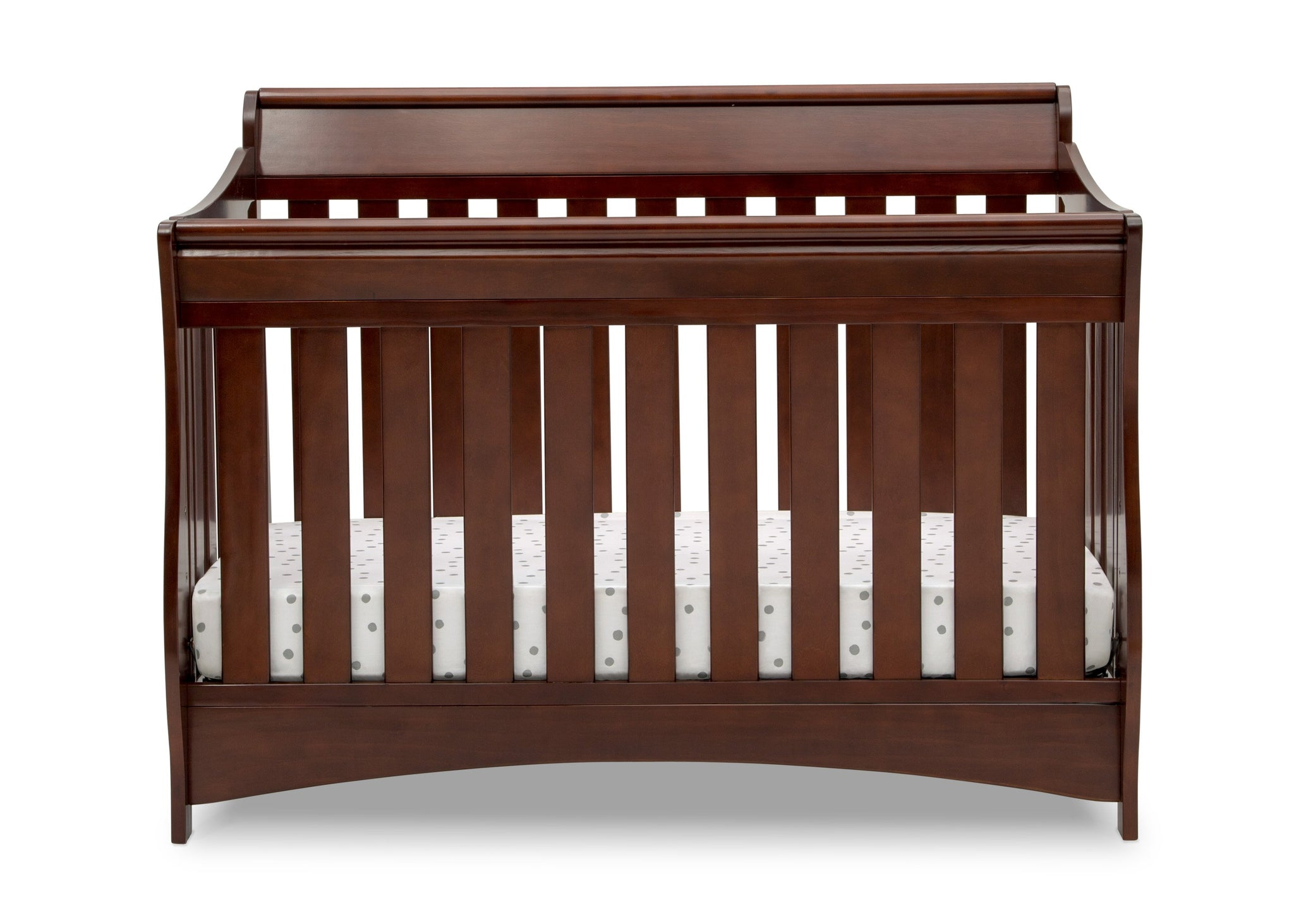 Delta Children Black Cherry Espresso (607) Bentley S Series Deluxe 6-in-1 Convertible Crib, Front Crib Silo View