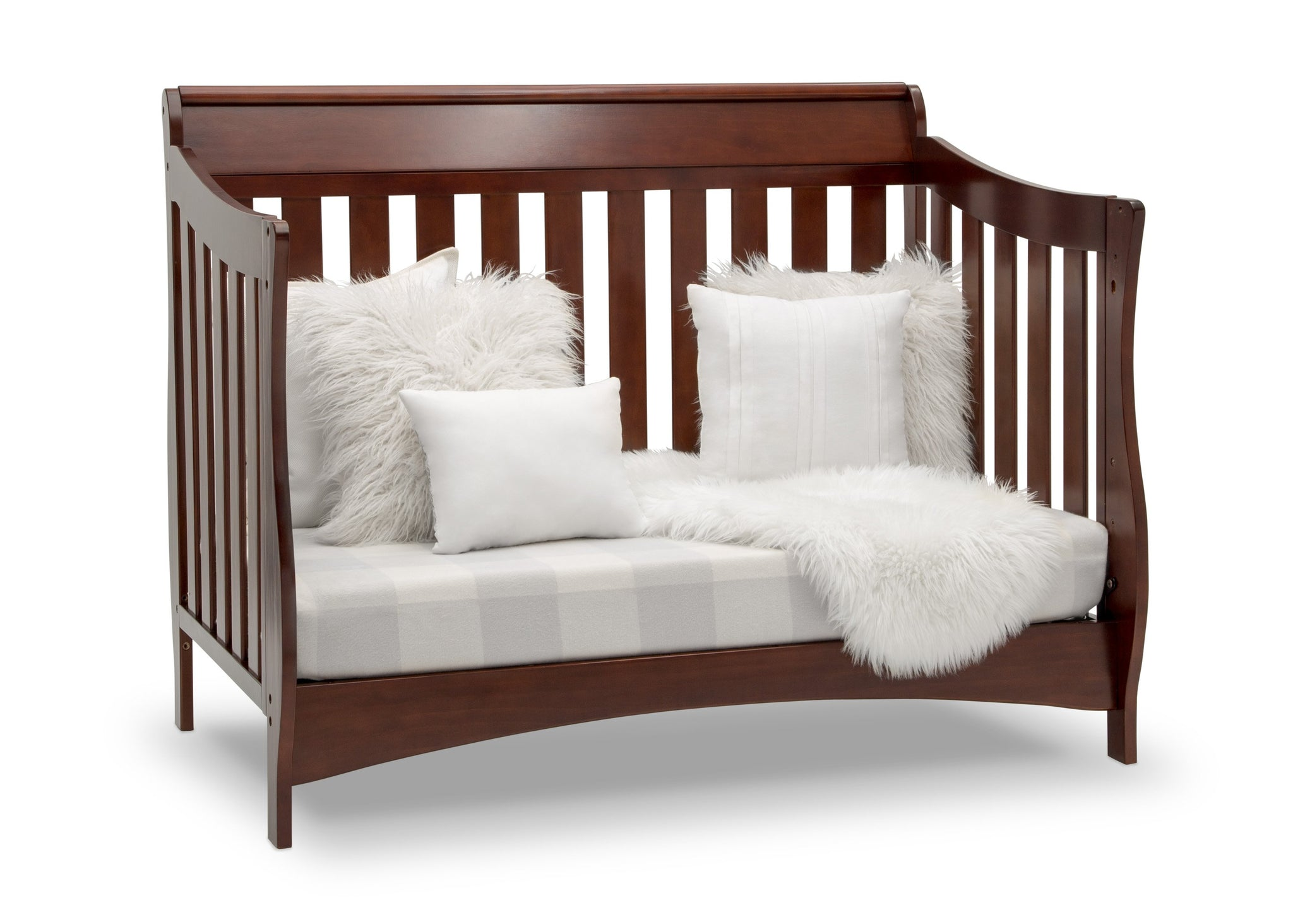 Delta Children Black Cherry Espresso (607) Bentley S Series Deluxe 6-in-1 Convertible Crib, Right Sofa Silo View