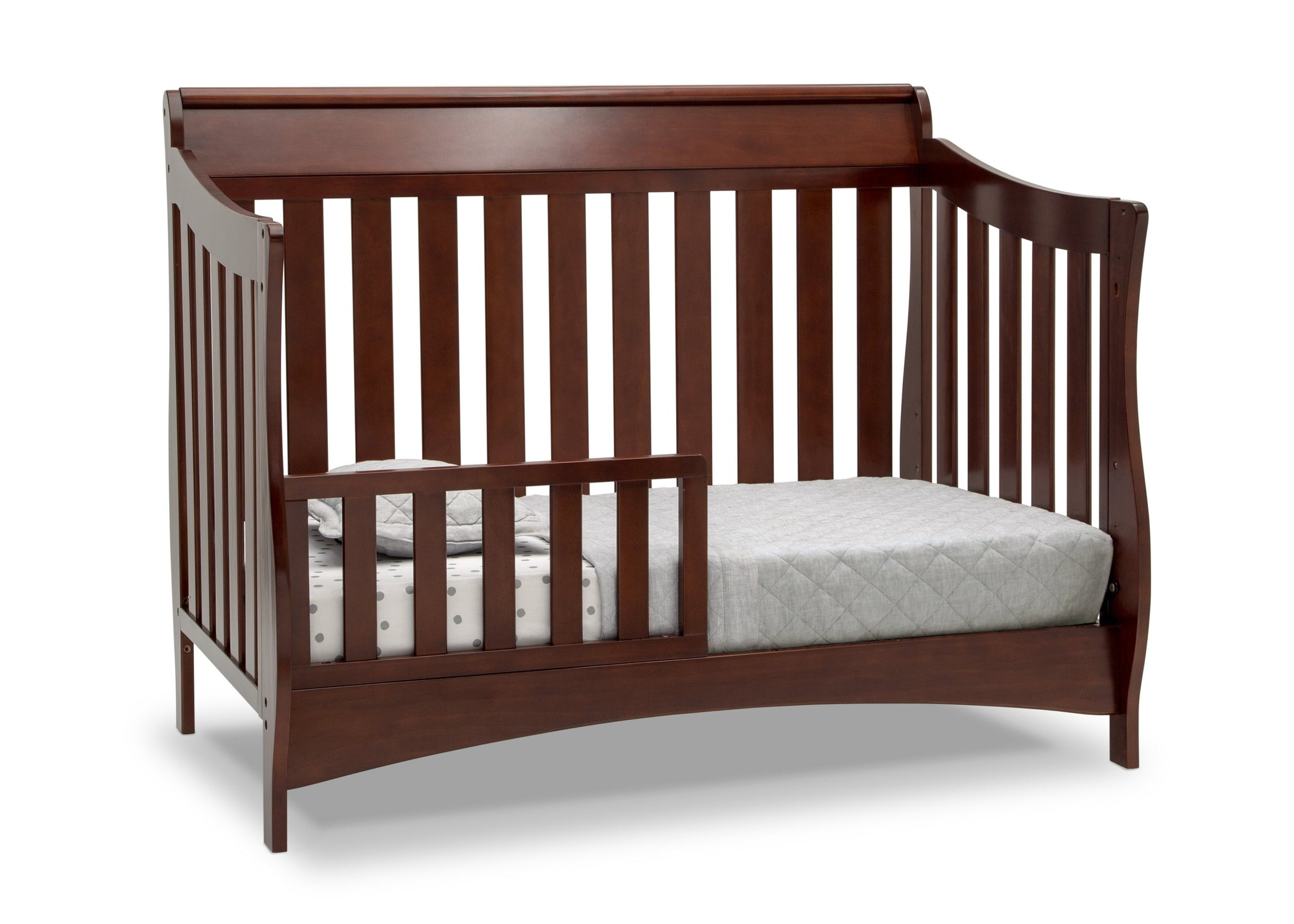 Delta Children Black Cherry Espresso (607) Bentley S Series Deluxe 6-in-1 Convertible Crib, Right Toddler Bed Silo View