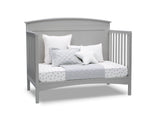 Delta Children Grey (026) Archer Deluxe 6-in-1 Convertible Crib, Right Day Bed Silo View
