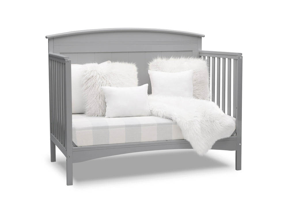 Delta Children Grey (026) Archer Deluxe 6-in-1 Convertible Crib, Right Sofa Bed Silo View