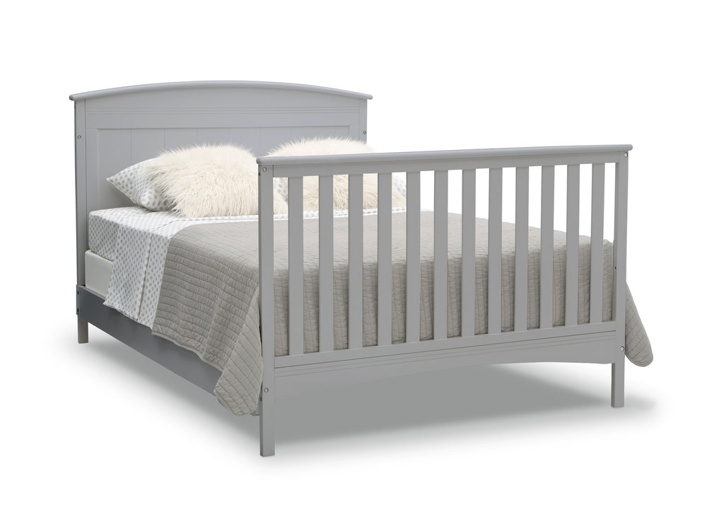 Delta Children Grey (026) Archer Deluxe 6-in-1 Convertible Crib, Right Full Bed with Headboard and Footboard Silo View