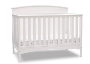 Delta Children Bianca White (130) Archer Deluxe 6-in-1 Convertible Crib, Right Crib Silo View
