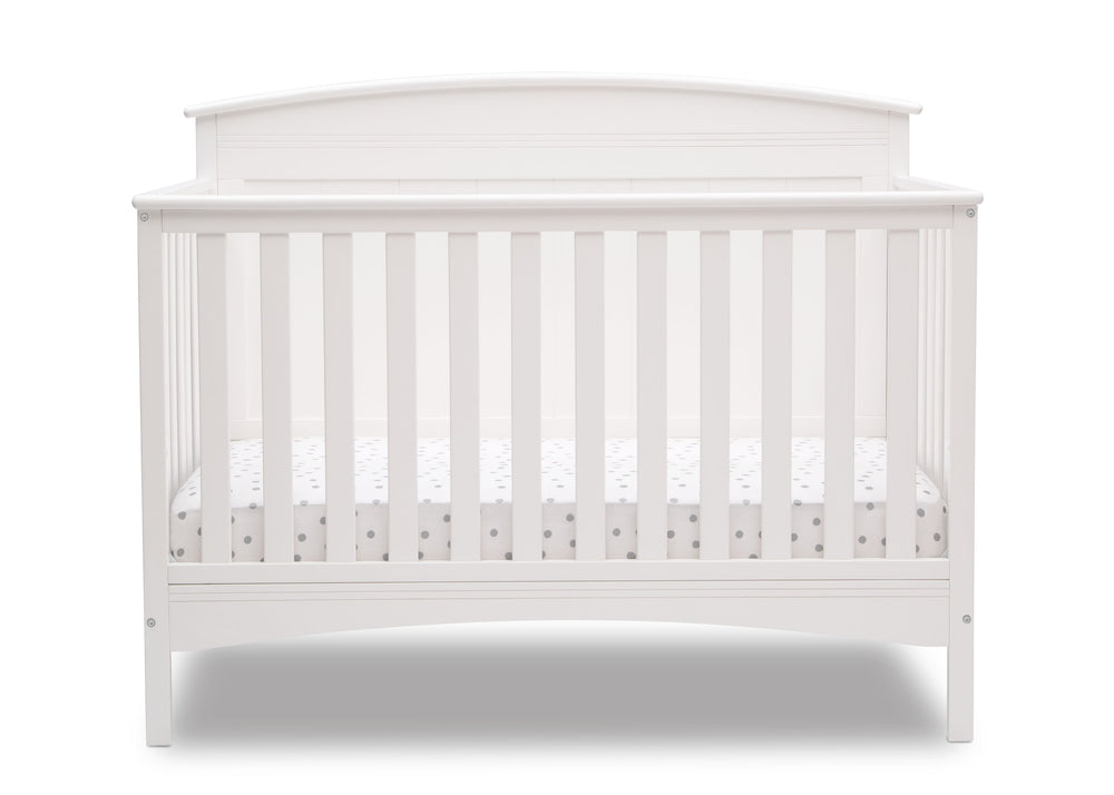 Delta Children Bianca White (130) Archer Deluxe 6-in-1 Convertible Crib, Front Crib Silo View