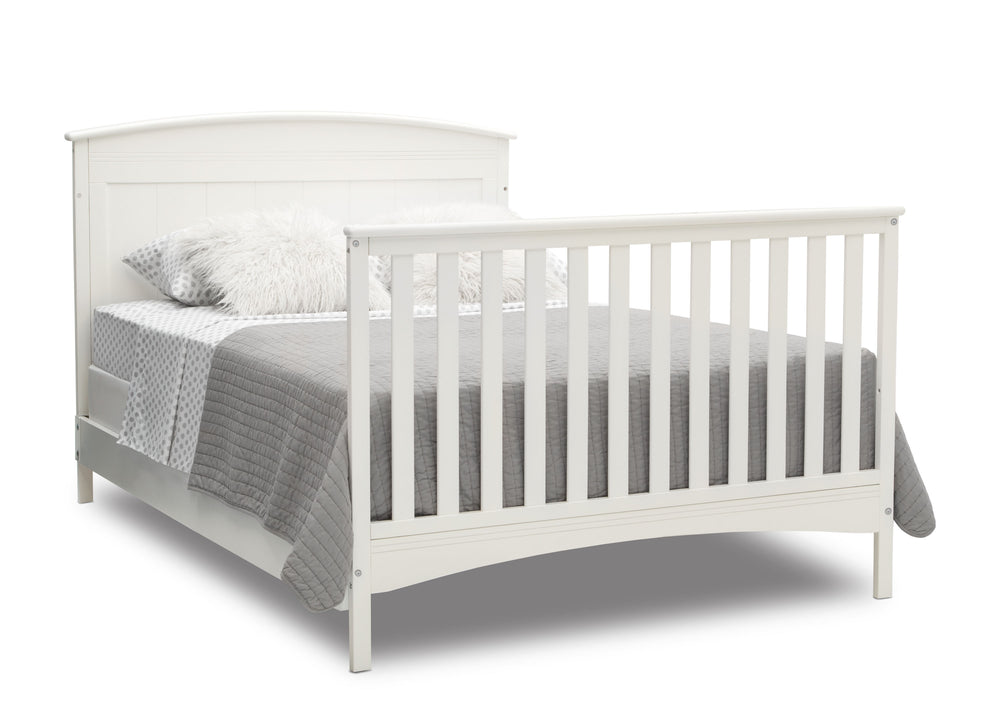 Delta Children Bianca White (130) Archer Deluxe 6-in-1 Convertible Crib, Right Full Bed with Headboard and Footboard Silo View