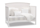 Delta Children Bianca White (130) Archer Deluxe 6-in-1 Convertible Crib, Right Sofa Bed Silo View