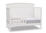 Delta Children Bianca White (130) Archer Deluxe 6-in-1 Convertible Crib, Right Toddler Bed Silo View