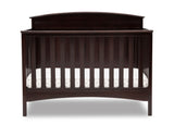 Delta Children Dark Chocolate (207) Archer Deluxe 6-in-1 Convertible Crib, Front Crib Silo View