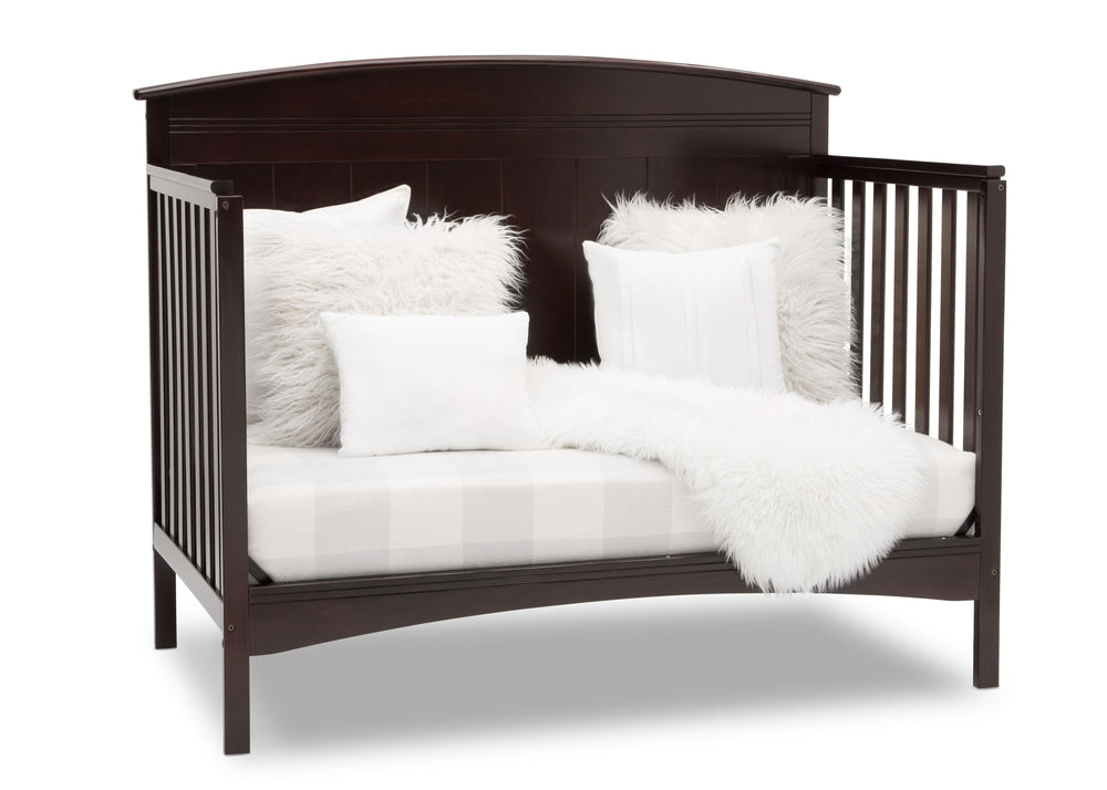Delta Children Dark Chocolate (207) Archer Deluxe 6-in-1 Convertible Crib, Right Sofa Bed Silo View