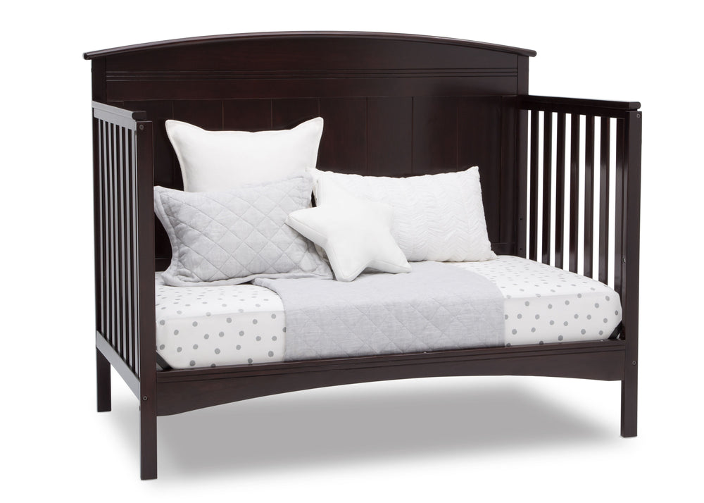 Delta Children Dark Chocolate (207) Archer Deluxe 6-in-1 Convertible Crib, Right Day Bed Silo View