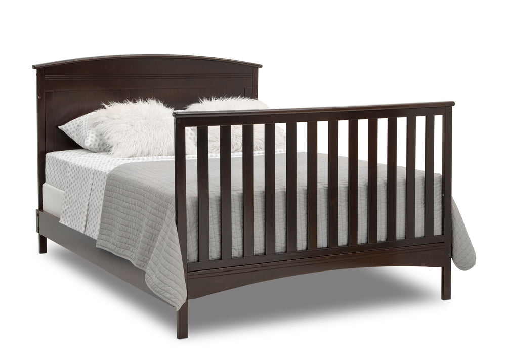 Delta Children Dark Chocolate (207) Archer Deluxe 6-in-1 Convertible Crib, Right Full Bed with Headboard and Footboard Silo View