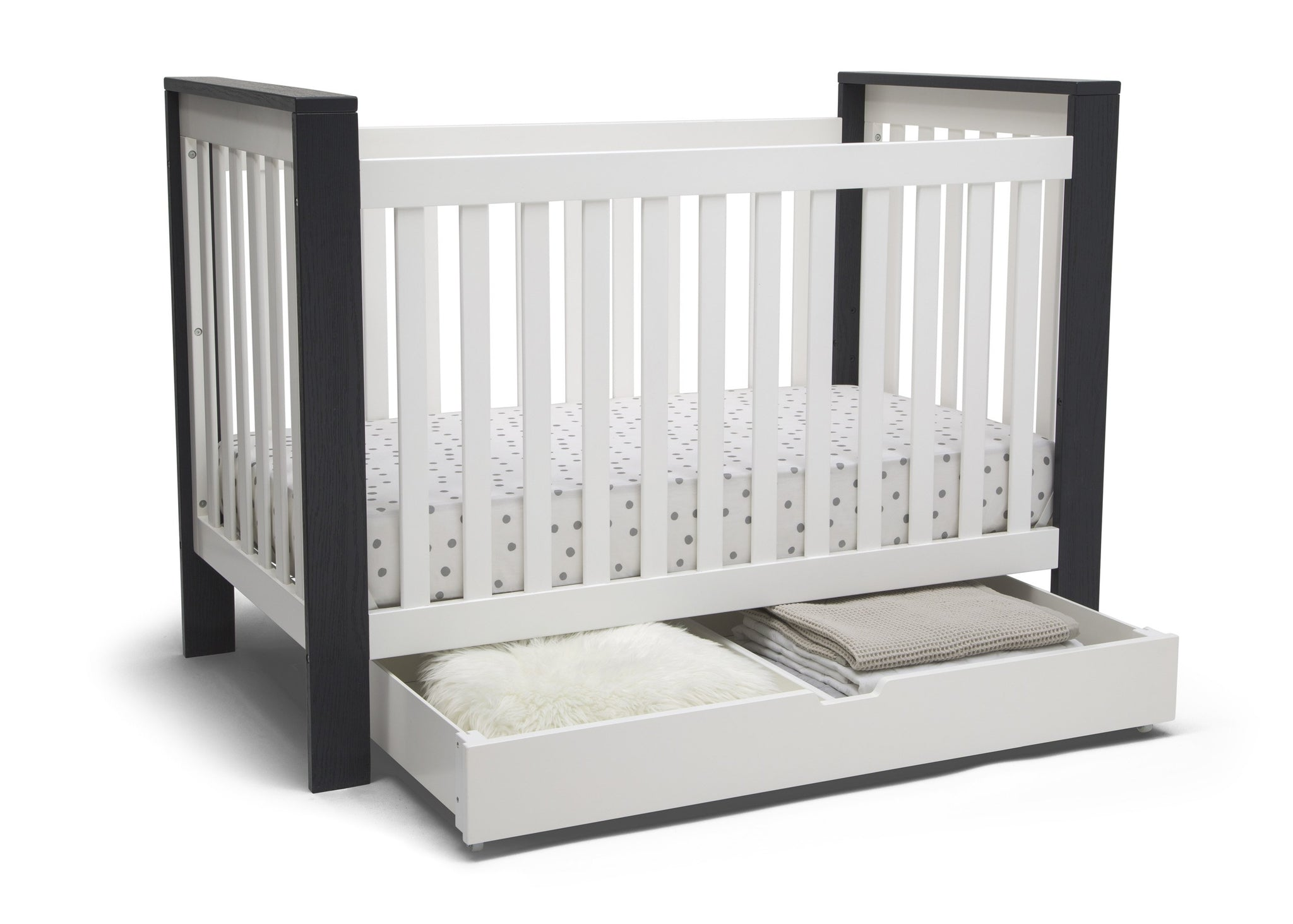 Delta Children Bianca White (130) Under Crib Roll-Out Storage, Right Crib Silo View