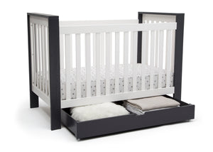 Delta Children Midnight (1360) Under Crib Roll-Out Storage, Right Crib Silo View