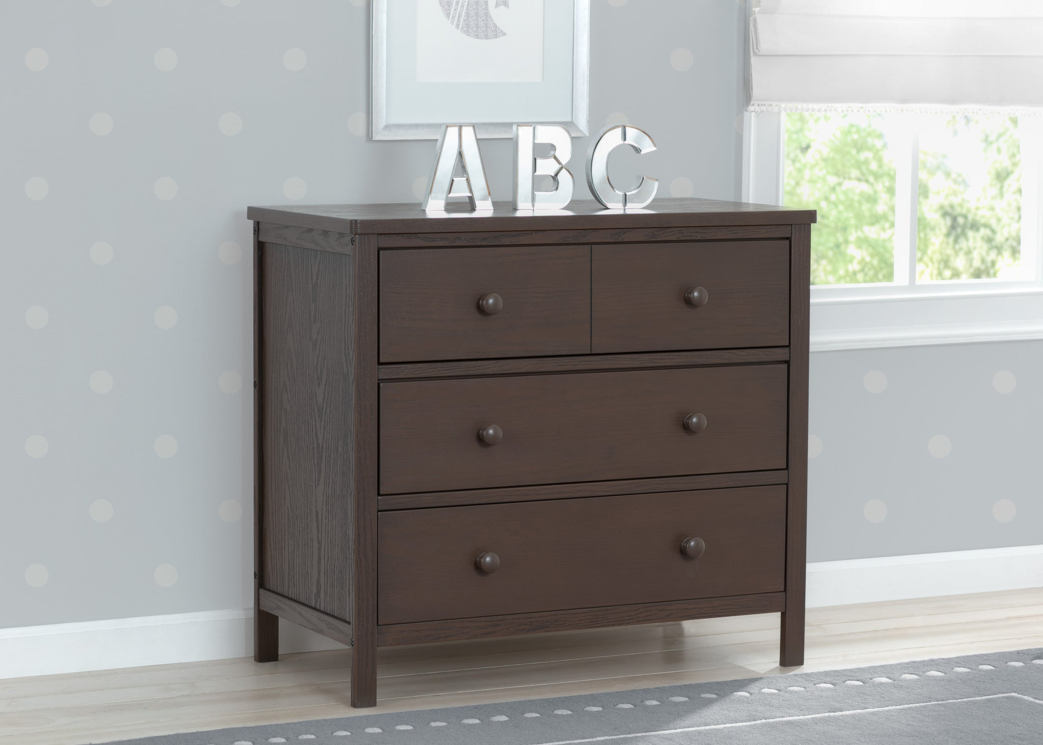 Delta Children Textured Cocoa (1350) Middleton 3 Drawer Dresser, Hangtag View