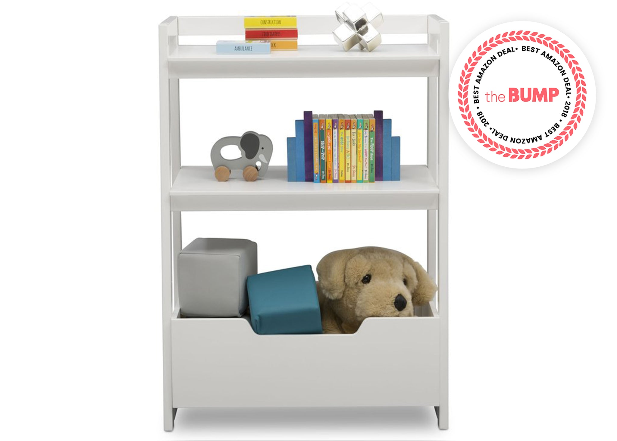 Delta Children Bianca White (130) Gateway Small Laddershelf (W101452), Front Silo with Props, b3b