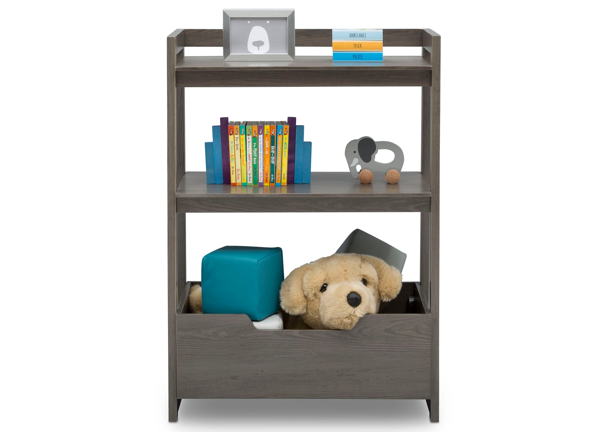 Delta Children Crafted Grey (1333) Gateway Small Laddershelf (W101452), Front Silo with Props, c3c