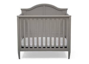 Delta Children Grey (026) Mini Convertible Baby Crib with Mattress and 2 Sheets Crib Front Silo View